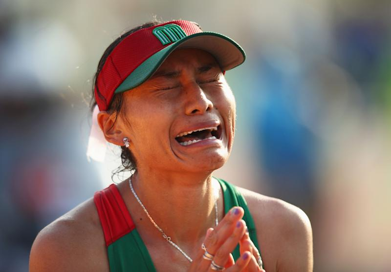 RIO DE JANEIRO, BRAZIL - AUGUST 19: Maria Guadalupe Gonzalez of Mexico shows her emotions as she wins silver in the Women's 20km Walk final on Day 14 of the Rio 2016 Olympic Games at Pontal on August 19, 2016 in Rio de Janeiro, Brazil. (Photo by Julian Finney/Getty Images)