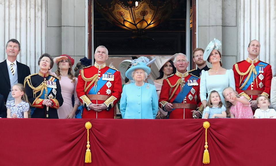 <p>The Royal Family watch the annual Trooping the Colour parade from the balcony of Buckingham Palace (Getty) </p>