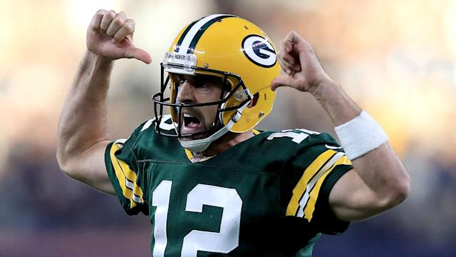 "<a class=""link rapid-noclick-resp"" href=""/nfl/players/7200/"" data-ylk=""slk:Aaron Rodgers"">Aaron Rodgers</a> did it again in Dallas. (AP)"