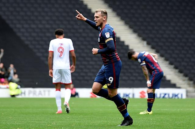 "Soccer Football - League One - Milton Keynes Dons vs Bradford City - Stadium MK, Milton Keynes, Britain - October 7, 2017 Bradford's Charlie Wyke celebrates scoring their second goal Action Images/Alan Walter EDITORIAL USE ONLY. No use with unauthorized audio, video, data, fixture lists, club/league logos or ""live"" services. Online in-match use limited to 75 images, no video emulation. No use in betting, games or single club/league/player publications. Please contact your account representative for further details."
