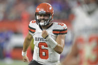 FILE - In this Aug. 17, 2018, file photo, Cleveland Browns quarterback Baker Mayfield celebrates in the second half of the team's NFL football preseason game against the Buffalo Bills, in Cleveland. With a shocking, blockbuster trade for superstar wide receiver Odell Beckham Jr., the Browns flipped the NFL on its helmet and instantaneously changed their national perception. The Browns roster now includes Beckham, Mayfield, Jarvis Landry and Myles Garrett. (AP Photo/David Richard, File)