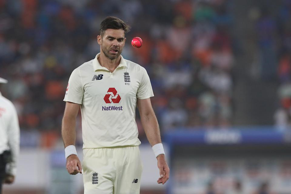 James Anderson with the pink ball in the day-night third TestBCCI
