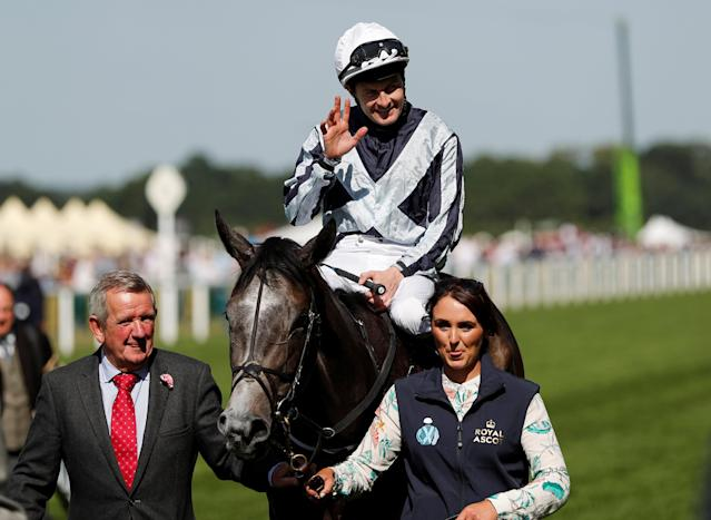 Horse Racing - Royal Ascot - Ascot Racecourse, Ascot, Britain - June 22, 2018 Colm O'Donoghue celebrates winning the 4.20 Coronation Stakes on Alpha Centauri Action Images via Reuters/Andrew Boyers