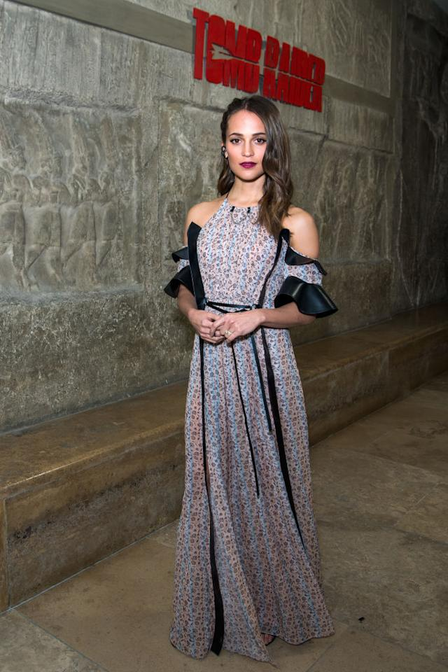 <p>On Friday 2nd March, Alicia Vikander touched down in Berlin wearing a floral number by go-to label Louis Vuitton. The sheer dress is hot off the runway and has us craving summer with its romantic ruffled sleeves. <em>[Photo: Getty]</em> </p>