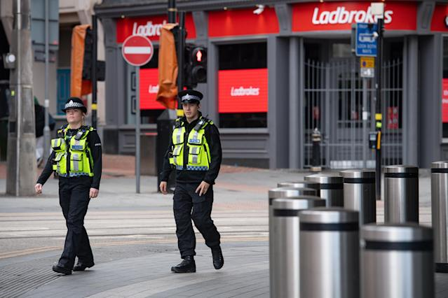 An increased transport police presence at Birmingham New Street station in on Monday. (PA Images via Getty Images)