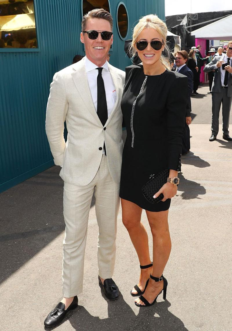 After having done it all back in 2012, Roxy Jacenko is not overly keen on a huge wedding ceremony following husband Oliver Curtis' second proposal - the pair pictured at Derby Day on Saturday. Source: Getty
