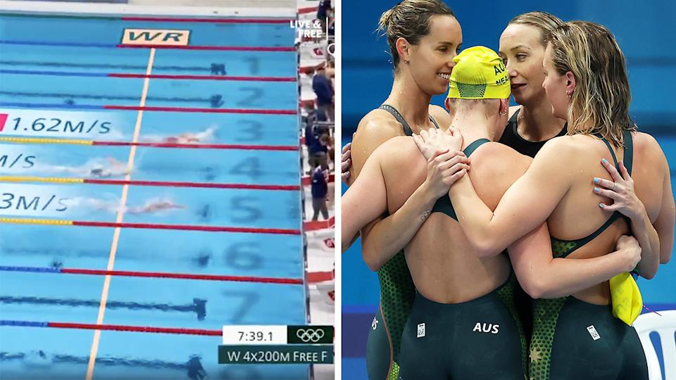 The 4x200m relay world record tumbled (left) as Australia claimed bronze in the thrilling final (right).