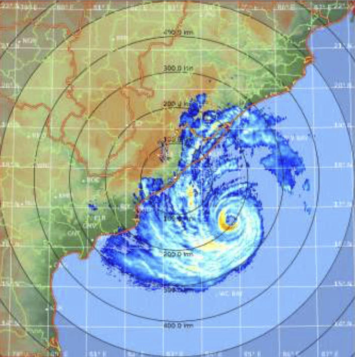 """In this satellite image acquired from the Indian Metrological Department, shows Cyclone Fani in the Bay of Bengal on Thursday, May 2, 2019. Hundreds of thousands of people were evacuated along India's eastern coast on Thursday as authorities braced for a cyclone moving through the Bay of Bengal that was forecast to bring """"extremely severe"""" wind and rain. (Indian Metrological Department via AP)"""