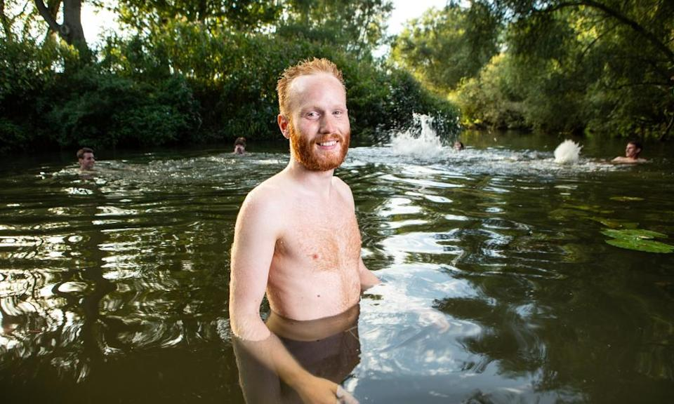 Owen Hayman swimming in the River Way with friends.
