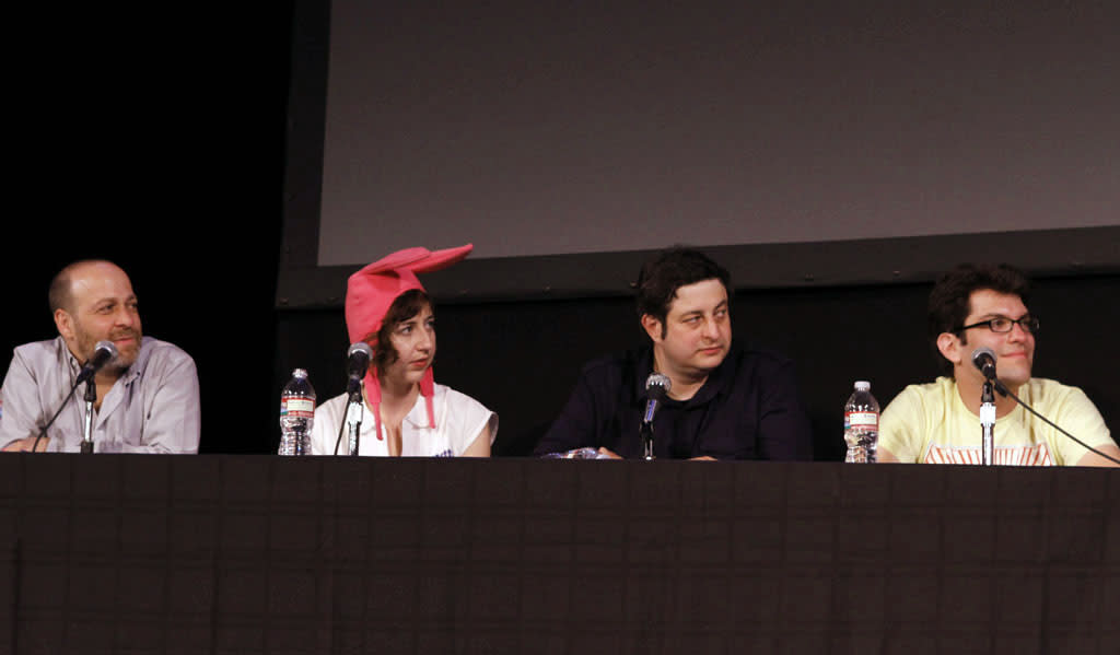"""Cast members H. Jon Benjamin, Kristen Schaal, Eugene Mirman and Dan Mintz  on stage during """"Bob's Burgers Live!"""" at the WIlshire Ebell Theatre on Tuesday, May 7 in Los Angeles, CA."""