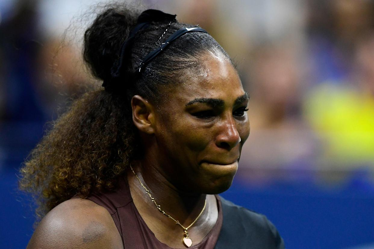 "<h1 class=""title"">2018 US Open - Day 13</h1> <div class=""caption""> NEW YORK, NY - SEPTEMBER 08: Serena Williams of the United States reacts during her Women's Singles finals match against Naomi Osaka of Japan on Day Thirteen of the 2018 US Open at the USTA Billie Jean King National Tennis Center on September 8, 2018 in the Flushing neighborhood of the Queens borough of New York City. (Photo by Sarah Stier/Getty Images) </div> <cite class=""credit"">Sarah Stier</cite>"