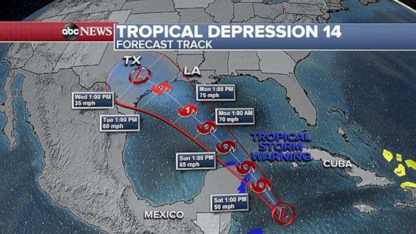 PHOTO: The track for Tropical Depression 14, which will likely turn into Tropical Storm Marco, shows it is headed toward Texas. (ABC News)