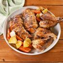 """<p>A <a href=""""https://www.delish.com/uk/chicken-recipes/"""" rel=""""nofollow noopener"""" target=""""_blank"""" data-ylk=""""slk:chicken"""" class=""""link rapid-noclick-resp"""">chicken</a> roasted over an entire can of beer? You better believe it. It guarantees a juicy, tender chicken that is full of flavour. </p><p>Get the <a href=""""https://www.delish.com/uk/cooking/recipes/a30496961/beer-can-chicken-recipe/"""" rel=""""nofollow noopener"""" target=""""_blank"""" data-ylk=""""slk:Beer Can Chicken"""" class=""""link rapid-noclick-resp"""">Beer Can Chicken</a> recipe.</p>"""