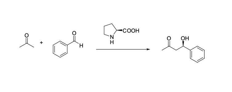 """<span class=""""caption"""">The kind of reaction that the researchers invented. If you take ketone and aldehyde, on the left, and add a proline catalyst (in the middle above the arrow), this generates the aldol (on the right, which is aldehyde and alcohol).</span> <span class=""""attribution""""><span class=""""license"""">Author provided</span></span>"""