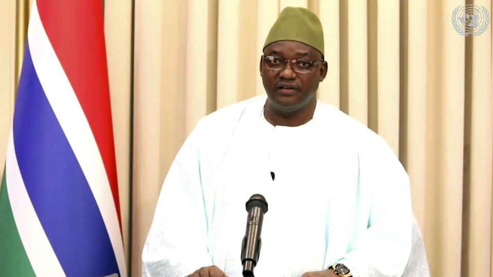 In this image made from UNTV video, Adama Barrow, President of The Gambia, speaks in a pre-recorded message which was played during the 75th session of the United Nations General Assembly, Thursday Sept. 24, 2020, at UN headquarters, in New York. (UNTV via AP)