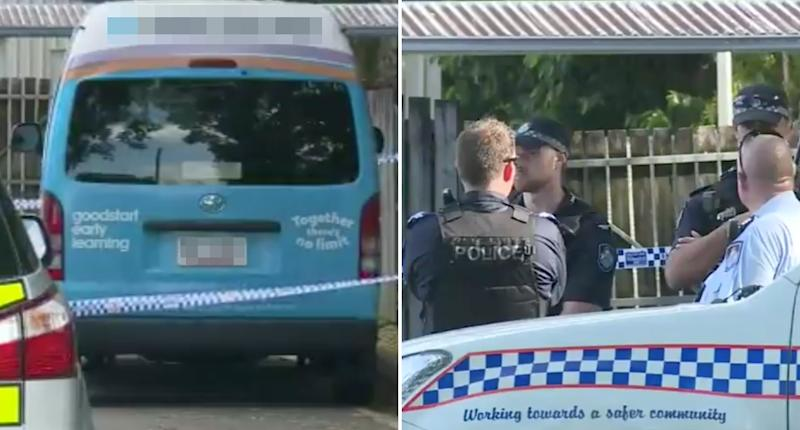 A daycare van in Cairns is pictured with police.