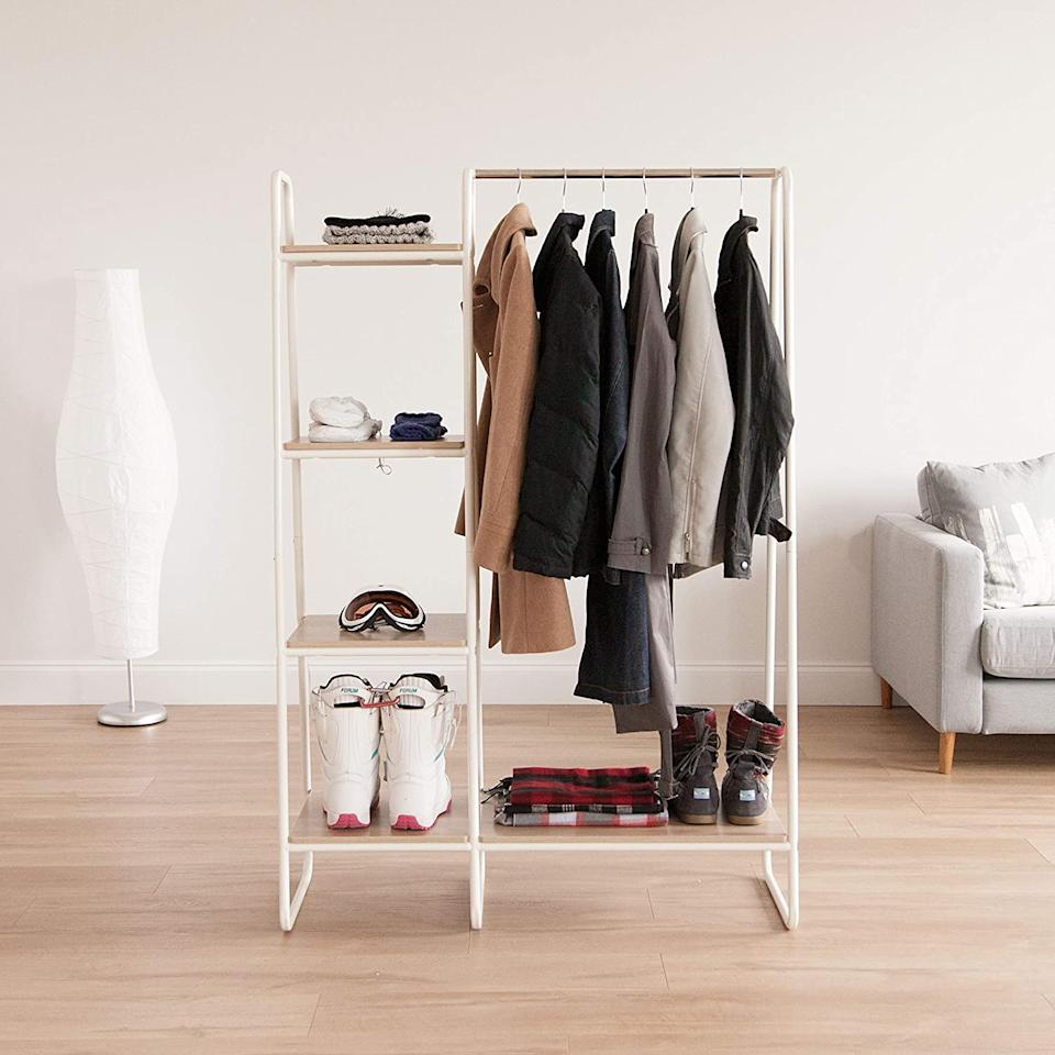 """<h2><a href=""""https://www.amazon.com/dp/B075RBXB3X/ref=sspa_dk_detail_0?"""" rel=""""nofollow noopener"""" target=""""_blank"""" data-ylk=""""slk:Metal Garment Rack"""" class=""""link rapid-noclick-resp"""">Metal Garment Rack</a></h2><br>No closet? No problem. This free-standing system is here to streamline your wardrobe in space-creating style.<br><br><strong>INC, Iris USA</strong> Metal Garment Rack, $, available at <a href=""""https://www.amazon.com/dp/B075RBXB3X/ref=sspa_dk_detail_0?"""" rel=""""nofollow noopener"""" target=""""_blank"""" data-ylk=""""slk:Amazon"""" class=""""link rapid-noclick-resp"""">Amazon</a>"""