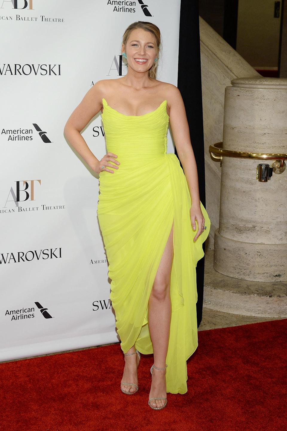 <p>You couldn't miss Blake in this electric yellow Oscar de la Renta number worn to the American Ballet Theatre Gala.<br><i>[Photo: Getty]</i> </p>
