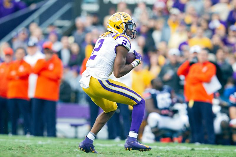LSU WR Justin Jefferson will have a battle this weekend vs. Alabama's defensive backs. (Photo by John Korduner/Icon Sportswire via Getty Images)