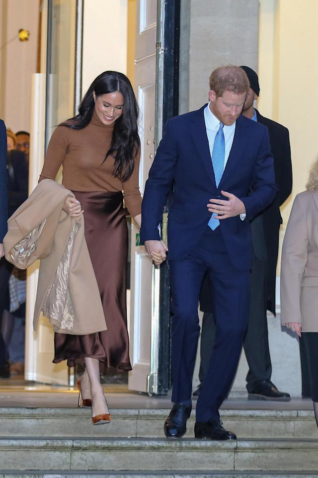 LONDON, UNITED KINGDOM - 2020/01/07: Prince Harry, Duke of Sussex and Meghan, Duchess of Sussex leave Canada House in London after thanking Canada's High Commissioner for Canada in the UK, Janice Charette for the warm Canadian hospitality and support they received during their recent stay in Canada. (Photo by Steve Taylor/SOPA Images/LightRocket via Getty Images)