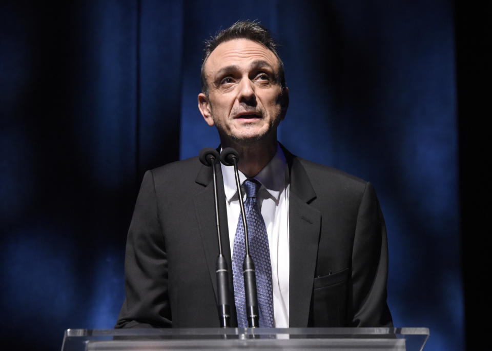 BEVERLY HILLS, CALIFORNIA - NOVEMBER 07: Hank Azaria speaks onstage during SAG-AFTRA Foundation's 4th Annual Patron of the Artists Awards at Wallis Annenberg Center for the Performing Arts on November 07, 2019 in Beverly Hills, California. (Photo by Vivien Killilea/Getty Images for SAG-AFTRA Foundation)