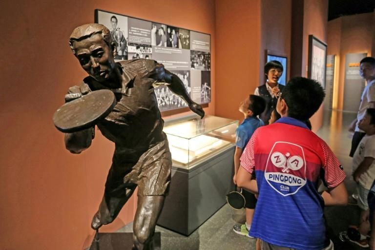 A statue of late Chinese table tennis champion Rong Guotuan stands in the national Table Tennis Museum in Shanghai