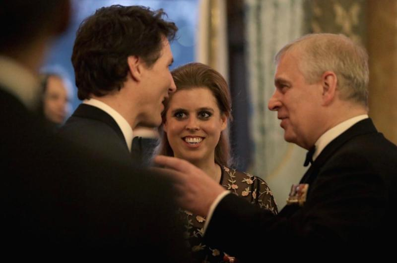 She was pictured having a chat with the Canadian Prime Minister and her dad, Prince Andrew. Photo: Getty Images