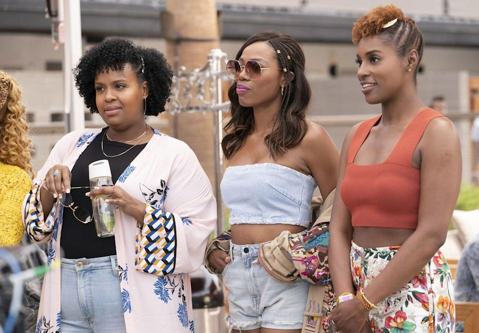 """<p>Keeping a straight face while Issa Rae, writer and star of HBO's <em>Insecure</em>, raps in bathroom mirrors is virtually impossible. The show does have its serious moments, as Issa and <a href=""""https://www.oprahdaily.com/style/a25905261/insecure-yvonne-orji-style/"""" rel=""""nofollow noopener"""" target=""""_blank"""" data-ylk=""""slk:Molly (Yvonne Orji)"""" class=""""link rapid-noclick-resp"""">Molly (Yvonne Orji)</a> come to terms with their tragic love lives, flaws, and what it means to be a Black woman in today's society. But it's all presented through Issa's comedic lens. The only thing better than their friendship and the ensuing laughs is the show's curated soundtrack. </p><p><a class=""""link rapid-noclick-resp"""" href=""""https://www.amazon.com/Insecure-as-F-k/dp/B01N91DZ0F/?tag=syn-yahoo-20&ascsubtag=%5Bartid%7C10063.g.37608731%5Bsrc%7Cyahoo-us"""" rel=""""nofollow noopener"""" target=""""_blank"""" data-ylk=""""slk:Watch Now"""">Watch Now</a></p>"""