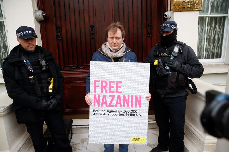 Richard Ratcliffe protests outside Iranian Embassy in London