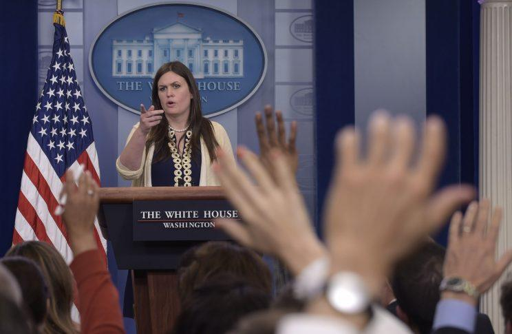 Deputy White House press secretary Sarah Huckabee Sanders speaks during the daily briefing at the White House in Washington, Wednesday, May 10, 2017. <br>(AP Photo/Susan Walsh)