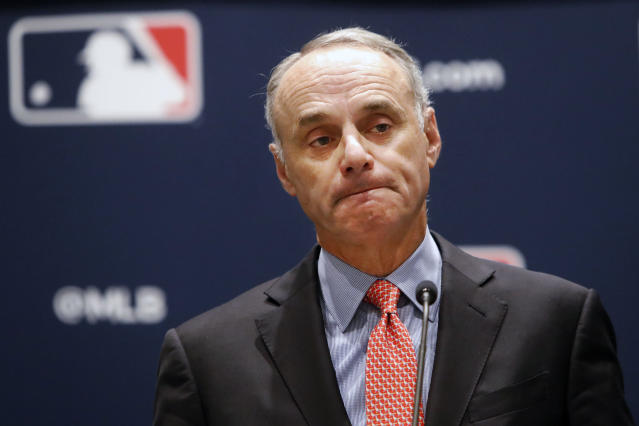 Rob Manfred reiterated that he has broad authority to punish the Astros and said that MLB's investigation will look into multiple seasons. (AP Photo/LM Otero)