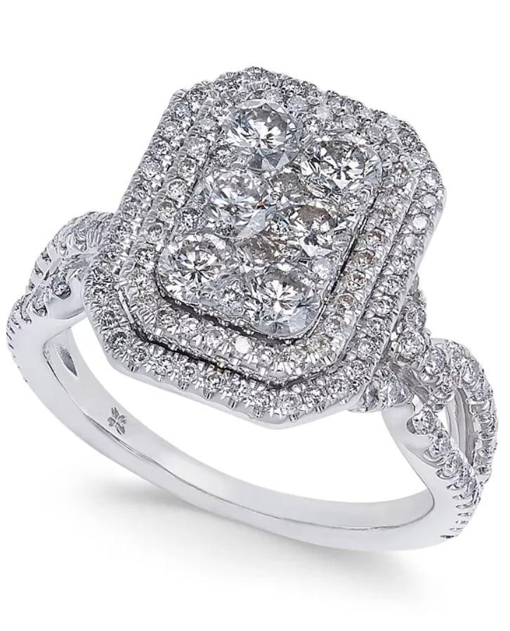 <p>There's no better option than this standout <span>Diamond Multi-Halo Cluster Engagement Ring</span> ($2,708, originally $5,696).</p>