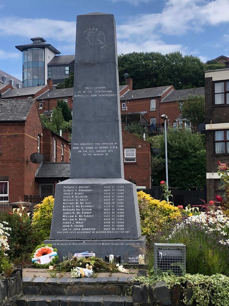 Memorial in Derry, Northern Ireland, to the 13 killed by British paratroopers on
