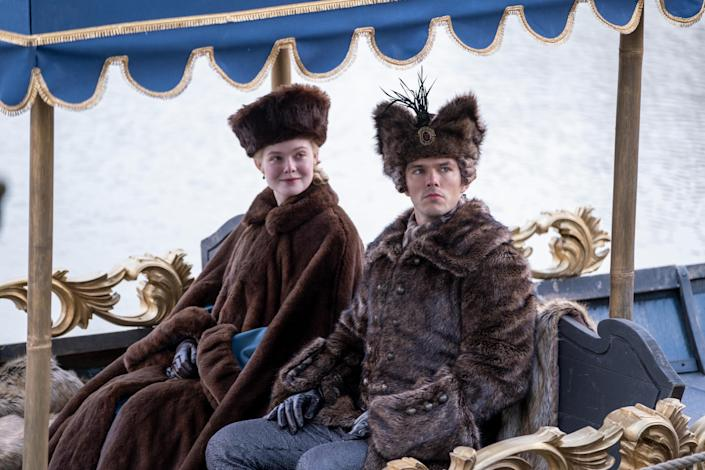 """Elle Fanning and Nicholas Hoult put on their best furs and drink a lot of vodka as Catherine the Great and her hapless husband, Peter III, in """"The Great."""""""