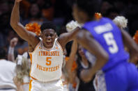 Tennessee guard Admiral Schofield (5) gets the crown excited during the first half of an NCAA college basketball game against Kentucky Saturday, March 2, 2019, in Knoxville, Tenn. (AP Photo/Wade Payne)
