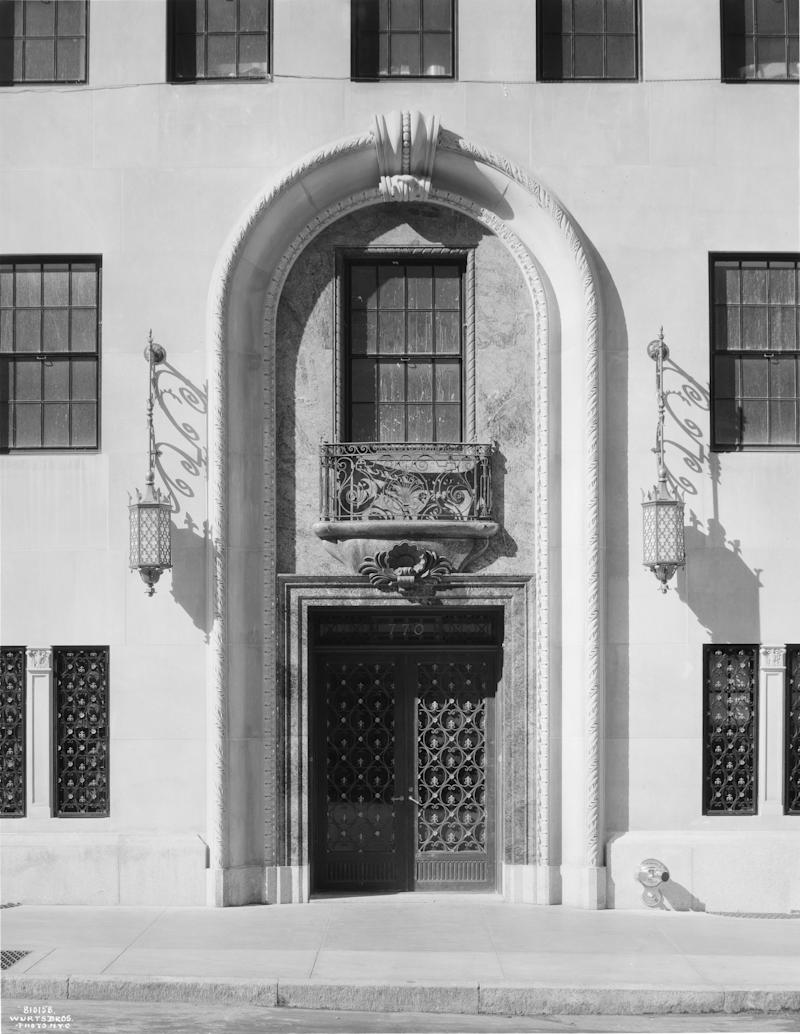 Entrance to 770 Park Avenue, 1930. Photograph by the Wurts Brothers.
