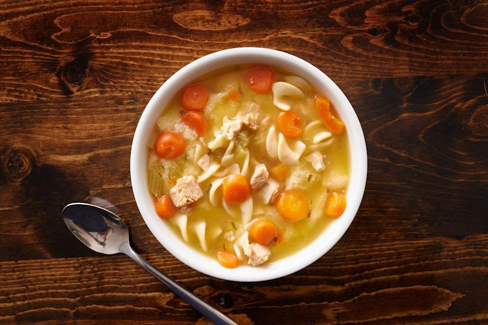 """<p>While sodium ranges can vary, most broths contain at least <u><a href=""""https://ndb.nal.usda.gov/ndb/foods/show/300651"""" rel=""""nofollow noopener"""" target=""""_blank"""" data-ylk=""""slk:500 milligrams of sodium"""" class=""""link rapid-noclick-resp"""">500 milligrams of sodium</a></u> per cup. Mix in other salty ingredients, and you'll score more than one-third of your daily sodium limit in one serving.</p><p>""""Canned soups are extremely high in sodium, which can increase <a href=""""https://www.prevention.com/health/health-conditions/a20428370/how-to-lower-blood-pressure-naturally/"""" rel=""""nofollow noopener"""" target=""""_blank"""" data-ylk=""""slk:blood pressure"""" class=""""link rapid-noclick-resp"""">blood pressure</a> for everyone and exacerbate the condition of individuals with heart failure,"""" Rivera says.</p>"""