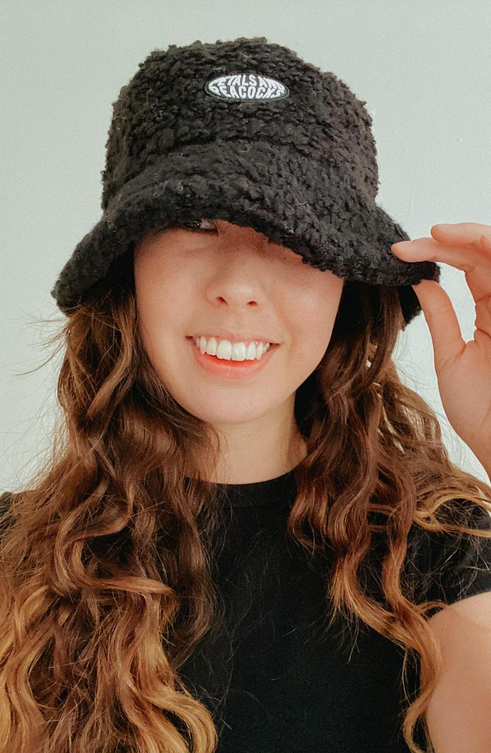 <p>This <span>Petals and Peacocks Fleece Bucket Hat</span> ($32) is the retro-inspired finishing touch to your look.</p>