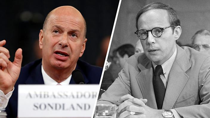 Gordon Sondland, U.S. ambassador to the European Union, and White House aide John Dean in 1973. (Photos: Andrew Harnik/AP, AP)