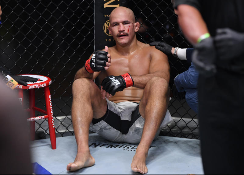 LAS VEGAS, NEVADA - AUGUST 15: Junior Dos Santos of Brazil reacts after his knockout loss to Jairzinho Rozenstruik of Suriname in their heavyweight bout during the UFC 252 event at UFC APEX on August 15, 2020 in Las Vegas, Nevada. (Photo by Jeff Bottari/Zuffa LLC)