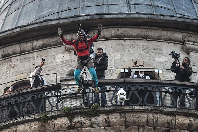 Turkish extreme sports athlete Cengiz Kocak is the first person in modern times to jump from the tower