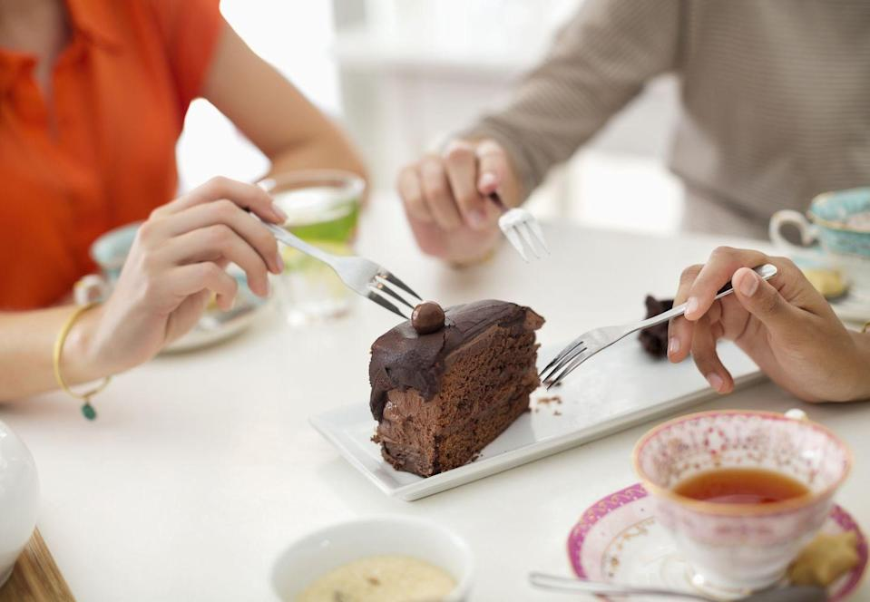 """<p>Speaking of goals, are yours reasonable? """"Instead of saying 'I'll never eat chocolate again,' which I call a 'dead person's goal' because it's something only a dead person could do, start to describe the ways you want to enjoy chocolate or any other food you feel you need to avoid forever,"""" Scritchfield says.</p><p>For example, tell yourself: """"I will savor one square of <a href=""""https://www.prevention.com/food-nutrition/a19133941/dark-chocolate-vs-milk-chocolate/"""" rel=""""nofollow noopener"""" target=""""_blank"""" data-ylk=""""slk:chocolate"""" class=""""link rapid-noclick-resp"""">chocolate</a> after dinner three times each week and enjoy it completely. And if I'm at a birthday party or special celebration with homemade baked goods, I'll appreciate three bites, then pass on the rest.""""</p><p>""""Refuse to repeat the same mistakes you've done over and over again for in recent years and in your lifetime. That means to give up the game of dieting if you refuse to play it can't win. You'll be open to the challenges of behavior change when you focus on creating lasting changes that you feel good about,"""" Scritchfield says.</p>"""