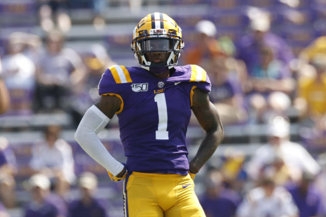 LSU CB Kristian Fulton has first-round traits, but his measurements and workouts at the combine are important. (Photo by Andy Altenburger/Icon Sportswire via Getty Images)