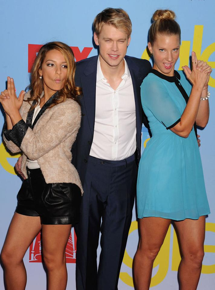 "Vanessa Lengies, Chord Overstreet and Heather Morris arrive at the ""Glee"" Premiere Screening And Reception at Paramount Studios on September 12, 2012 in Hollywood, California."