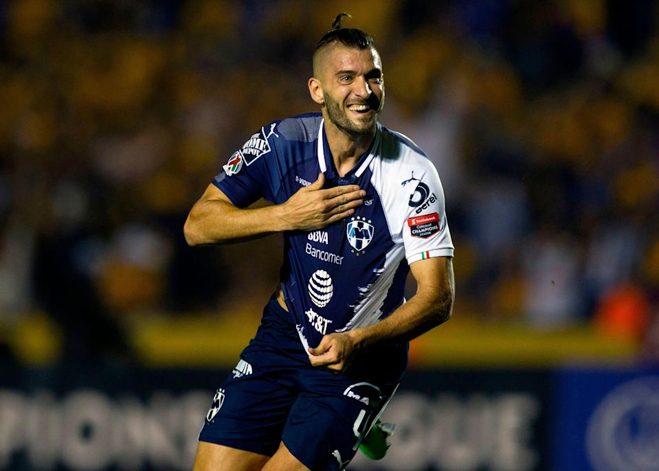 Nicolas Sanchez of Mexico's Monterrey celebrates after scoring against Mexico's Tigres during the Concacaf Champions League first leg final football match at Universitario stadium in Monterrey, Mexico, on April 23, 2019. (Photo by Julio Cesar AGUILAR / AFP)        (Photo credit should read JULIO CESAR AGUILAR/AFP/Getty Images)
