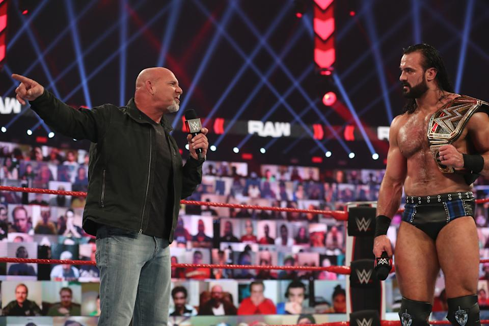 Goldberg and WWE champion Drew McIntyre trade words on an episode of 'Monday Night Raw.'
