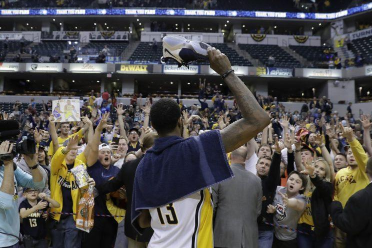 """Who throws a shoe, honestly? Clinching a playoff berth is no excuse, <a class=""""link rapid-noclick-resp"""" href=""""/nba/players/4725/"""" data-ylk=""""slk:Paul George"""">Paul George</a>. (AP)"""