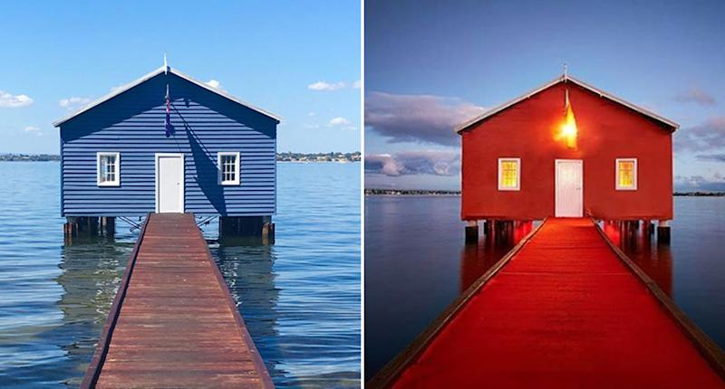 The Crawley Edge Boatshed is pictured blue before being turned red. The iconic shed has changed colour as Perth welcomes Manchester United on Saturday for a football game against Perth United.