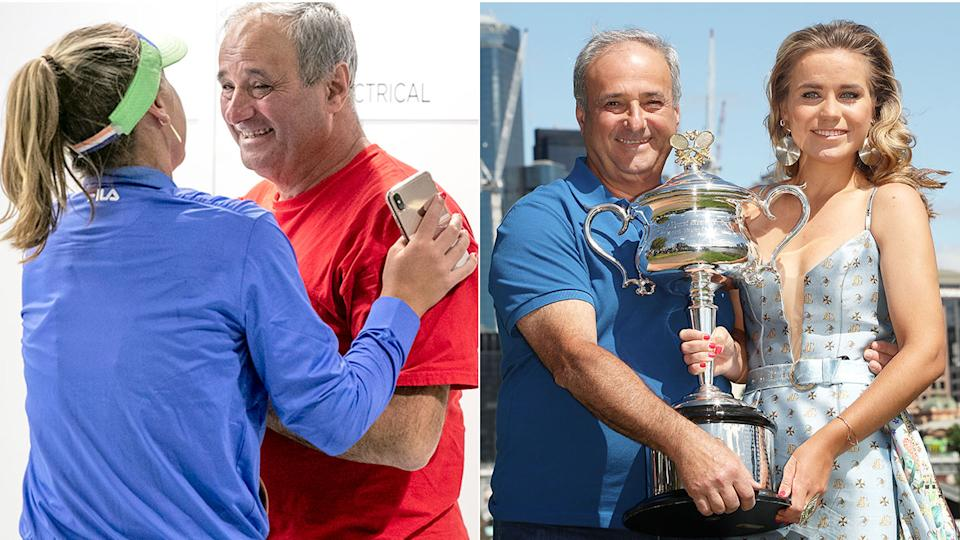 Sofia Kenin and her former coach father Alex are seen celebrating her tennis success in these photos.