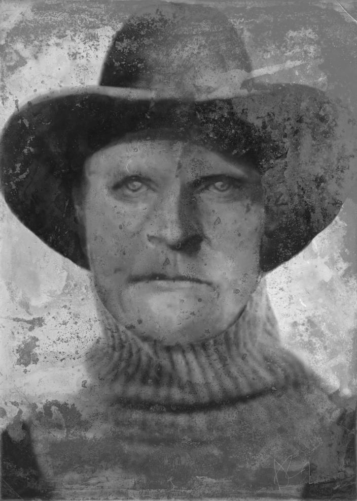 This undated composite sketch provided by Anthony Redgrave, courtesy of Lee Bingham Redgrave, shows Joseph Henry Loveless. A man whose headless torso was found in a remote Idaho cave 40 years ago has finally been identified as Loveless, an outlaw who killed his wife with an ax and was last seen after escaping from jail in 1916. Clark County Sheriff Bart May said Tuesday, Dec. 31, 2019, that the cold case, which his department has been working on periodically since 1979, will remain open because investigators don't yet know who killed Loveless. Still, they were able to notify one of Loveless' surviving relatives, an 87-year-old grandson, of his fate. (Anthony Redgrave/Courtesy of Lee Bingham Redgrave via AP)